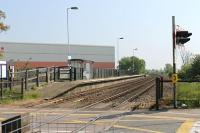 Serving the outer suburbs of Lincoln is Hykeham station on the old Midland line into the city. View towards Lincoln from the entrance to the staggered Newark and Nottingham platform. <br><br>[Mark Bartlett&nbsp;22/05/2012]