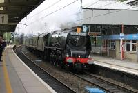 With the iconic headboard on the smokebox 46233 <I>Duchess of Sutherland</I> hurries the <I>Royal Scot</I> north through Oxenholme on 9th June 2012. <br><br>[Mark Bartlett&nbsp;09/06/2012]