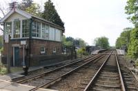This station, between Lincoln and Sleaford, was originally known as <I>Blankney and Metheringham</I> and closed in 1961. It reopened in 1975 as plain Metheringham but the signalbox that controls the level crossing is still known as Blankney. The rebuilt station is here viewed looking north towards Lincoln from the level crossing. <br><br>[Mark Bartlett&nbsp;21/05/2012]