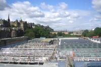 Progress on the re re-glazing of the Waverley station roof seen from the North Bridge. Photographed on 13 June 2012 looking west. [See image 36223]<br><br>[F Furnevel&nbsp;13/06/2012]