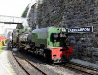 Beyer-Garratt locomotive no 143 rounding a curve at Caernarfon on the Welsh Highland Railway en route to Porthmadog in June 2012. Welsh Highland Railway<br><br>[Peter Todd&nbsp;/06/2012]