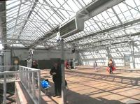 The light and spacious concourse at Gourock station, seen on 13 June 2012.<br><br>[John Yellowlees&nbsp;13/06/2012]