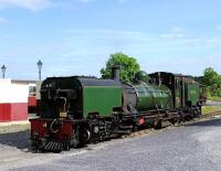 Beyer-Garratt 143 gets ready for a day's work on the Welsh Highland Railway at Dinas in May 2012.<br><br>[Peter Todd&nbsp;14/06/2012]
