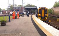 An afternoon Inverness - Aberdeen service calls at Forres on 25 May 2012.<br><br>[John Furnevel&nbsp;25/05/2012]