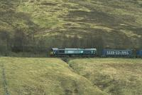 DRS 66301 with the empty Tesco containers south of Dalwhinnie on 13 April 2012 on their way back from Inverness to Mossend yard.<br><br>[Graham Morgan&nbsp;13/04/2012]