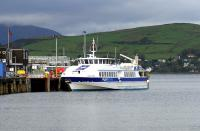One of the two modern passenger ferries now handling the Dunoon - Gourock route, MV <I>Argyll Flyer</I>, berthed at Gourock pier alongside the recently rebuilt station in October 2011. There is no longer a vehicle service on this route. [See image 28925] <br><br>[Colin Miller&nbsp;27/10/2011]