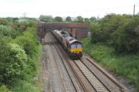 Down coal empties on the Great Western main line close to Juction 16 of the M4 to the west of Swindon in June 2012.<br><br>[Peter Todd&nbsp;16/06/2012]