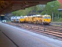 Track machines getting on with their 6-day snooze round the back of Leicester station. View from platform 4 on a Friday afternoon in April 2012.<br><br>[Ken Strachan&nbsp;27/04/2012]