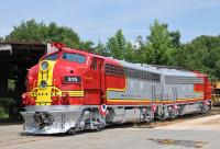 The official unveiling of the restored F7As at Motive Power & Equipment Solutions, Inc. in Greenville, SC, on Saturday 9th June 2012 [see image 39260]. Although neither locomotive was owned or operated by the ATSF Railroad, both were finished in Santa Fe <i>'Warbonnet'</i> livery. The 1953 vintage locomotives are destined for the Galveston Railroad Museum in Texas. <br><br>[Andy Carr&nbsp;09/06/2012]