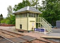 A cross-platform view of the refurbished signal box at Glenfinnan, complete with new steps, in June 2012. The lever frame and levers are still intact.<br><br>[John Gray&nbsp;/06/2012]