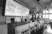 Interior of Stirling North signal box, May 1990. [See image 28834]<br><br>[Bill Roberton&nbsp;13/05/1990]