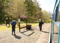 Almost ready to leave Drummuir for Keith Town on a glorious 20 May 2012 after dropping off a walker, with volunteer guard Steve Rhodes about to reboard the train for the off.   <br><br>[John Furnevel&nbsp;20/05/2012]