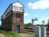 The closed Rhyl no 2 signal box at the Holyhead end of Rhyl station in June 2012. The disused structure is grade 2 listed.<br><br>[Veronica Clibbery&nbsp;19/06/2012]