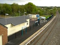 Looking south over Fishguard and Goodwick Station on 22 May 2012, a week after reopening following closure in 1964. A fair number of passengers had alighted from the recent 18.46 arrival formed of 150217, which had then continued on to the harbour station to complete the service from Gloucester. A shuttle to Clarbeston Road and return then ensued, before ending the day at Carmarthen.<br><br>[David Pesterfield&nbsp;22/05/2012]