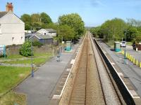 Looking north from Cwmfelin Road overbridge at Bynea in May 2012. Bynea is the first station along the Central Wales line after leaving Llanelli. <br><br>[David Pesterfield&nbsp;22/05/2012]