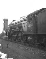 The Gateshead crew of A3 no 60060 <I>'The Tetrarch'</I> looking back from the footplate in June 1962 with the Haymarket coaling plant in the background. The Pacific was withdrawn from 52A in September the following year.<br><br>[Frank Spaven Collection (Courtesy David Spaven)&nbsp;02/06/1962]