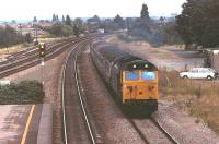50044 <I>Exeter</I> hurries a Paddington bound train through Taplow on the Up Slow line in 1981. Thankfully the former D444 was preserved and, over thirty years later, is still main line registered. The Austin Maxis will not have been so fortunate.  <br><br>[Mark Bartlett&nbsp;18/07/1981]