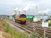 66096 runs round a coal train at Didcot power station on 28 June 2012.<br><br>[Peter Todd 28/06/2012]