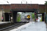 In the monsoon of 28 June the 10.06 for Kilmarnock approaches Ayr station ex-Girvan.  <br><br>[Colin Miller&nbsp;28/06/2012]