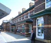 Part of the attractive station building at Rhyl, June 2012.<br><br>[Veronica Clibbery&nbsp;/06/2012]