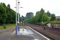 Looking north from the down platform at Dumfries station in June 2012, with the filled in bays on the left. For a similar view in 1965 [see image 25943].<br><br>[Colin Miller&nbsp;/06/2012]
