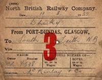 NBR wagon label for a consignment of whisky from Port Dundas to South Leith on 11 August 1922.<br><br>[Bill Roberton&nbsp;11/12/2003]