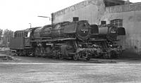 Two oil fired 3 cylinder 2-10-0s, Nos, 043 737 and 043 087, in repose adjacent to the roundhouse at Rheine in September 1974. Pre-computerisation these had been numbered 44 1737 and 44 087 respectively but in 1968 the opportunity was taken to differentiate between oil and coal-fired locos and the former became class 043, the latter class 044. Both locos survived in service until the end of steam at Rheine in October 1977.<br><br>[Bill Jamieson&nbsp;07/09/1974]