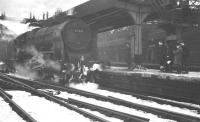 Patriot no 45531 <I>Sir Frederick Harrison</I> looking a little out of place following arrival at a snowy Newcastle Central sometime during the winter of 1962/63. No details of the working are available - possibly a football special(?)<br><br>[K A Gray&nbsp;//]