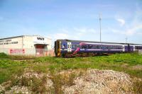 The 10.14 Aberdeen - Inverness service arrives at Forres on 22 May 2012 to much waving and cheering. [See image 38979]<br><br>[John Furnevel&nbsp;22/05/2012]