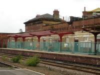 New canopy supports being erected at the west end of the eastbound platform at Wakefield Kirkgate in June 2012 during major renovation work at the station.<br><br>[David Pesterfield&nbsp;26/06/2012]
