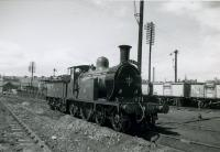 SLS Angus Tour, 20th May 1961<br><br> CR123 at Dundee Tay Bridge MPD, having brought the tour train into Dundee West from Glasgow, Buchanan Street.<br><br>[Jim Currie (Courtesy Stephenson Locomotive Society)&nbsp;20/05/1961]