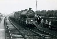 SLS Farewell to Peebles Tour 3rd February 1962<br><br> 64587 at Leadburn, where the special was the last passenger train to call there.<br><br>[Jim Currie (Courtesy Stephenson Locomotive Society)&nbsp;03/02/1962]