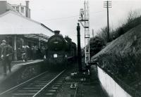 SLS Farewell to Peebles Tour 3rd February 1962<br><br> 64587 at Peebles station.<br><br>[Jim Currie (Courtesy Stephenson Locomotive Society)&nbsp;03/02/1962]