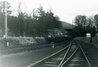 SLS Farewell to Peebles Tour 3rd February 1962<br><br> 4.5pm Galashiels to Edinburgh DMU (SC51127/56319) approaching Peebles and passing the Peebles Goods loop.<br><br>[Jim Currie (Courtesy Stephenson Locomotive Society)&nbsp;03/02/1962]