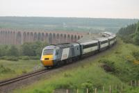 The 0755 Inverness to Kings Cross through service powers round the curve at the south end of Culloden Viaduct and starts the climb towards Moy. 43317 was the leading HST power car with 43315 bringing up the rear.<br><br>[Mark Bartlett&nbsp;04/07/2012]
