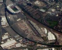 The Freightliner Terminal at Trafford Park seen from above with a view looking ESE. Trafford Park was reached by a Cheshire Lines Committee branch in 1894. The Manchester Ship Canal docks are out of shot just off to the left.<br><br>[Ewan Crawford&nbsp;12/05/2012]