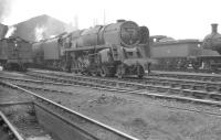 The shed yard at 12C Carlisle Canal in July 1961, with BR Standard class 9F 2-10-0 no 92162 centre stage.<br><br>[K A Gray /07/1961]