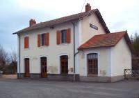 The attractive station building at La Chaise Dieu on the AGRIVAP tourist line in the Auvergne, seen from the station forecourt on 28 April 2012.<br><br>[Andrew Wilson&nbsp;28/04/2012]