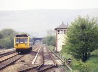 A Manchester Piccadilly - Sheffield train passing Edale signal box in the Peak District in June 2001.<br><br>[Ian Dinmore&nbsp;/06/2001]