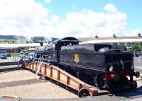 Ex-GWR Churchward 2-8-0 no 3850 on the turntable alongside Minehead station on 11 July 2012.<br><br>[Peter Todd&nbsp;11/07/2012]