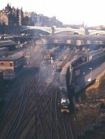 Train 1A35, the Deltic hauled up <I>'Flying Scotsman'</I>, powers out of Waverley at 10am on 12th August 1961.<br><br>[Frank Spaven Collection (Courtesy David Spaven)&nbsp;12/08/1961]