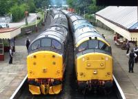 37518 stands alongside 37901 at Ramsbottom on Sunday 8th July during the East Lancs Railway Diesel Gala.<br><br>[Colin Alexander&nbsp;08/07/2012]