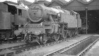 Stanier 2-6-4T no 42561 stands outside Patricroft shed in April 1962. The locomotive was withdrawn from here in November the following year.<br><br>[K A Gray&nbsp;14/04/1962]