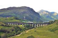 A view down Glen Finnan on 19 July with K1 no 62005 crossing the viaduct with <I>The Jacobite</I> for Mallaig. <br><br>[John Gray&nbsp;19/07/2012]