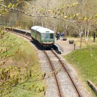 Spring is in the air. Walkers disembark from a Sunday afternoon Dufftown - Keith DMU service at Drummuir station on a warm and pleasant 20 May 2012.  <br><br>[John Furnevel&nbsp;20/05/2012]