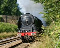 Having been held at Lostock Hall Junction, no 46233 <I>Duchess of Sutherland</I> emerges from under the A674 road at Hoghton on 21 July 2012 on the climb to the summit with the 'Cumbrian Mountain Express' from Crewe to Carlisle via Manchester and the S&C.<br><br>[John McIntyre&nbsp;21/07/2012]