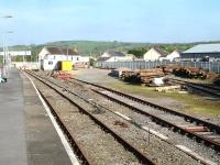 Whitland Station yard and sidings on the down side of the station in May 2012, now in use by Network Rail as a track maintenance depot.<br><br>[David Pesterfield&nbsp;22/05/2012]