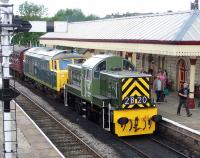 D9531+D7076 stand at Ramsbottom on 8 July during the East Lancs Railway diesel gala weekend.<br><br>[Colin Alexander&nbsp;08/07/2012]