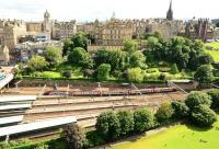 View from the Scott Monument on 25 July showing the west end of Waverley Station with a CrossCountry train approaching the platforms. <br><br>[John Gray&nbsp;25/07/2012]
