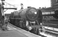 The BR <I>'Midland Line Centenary Special Railtour'</i> stands at Manchester Victoria on 9 June 1968 behind Britannia Pacific no 70013 <I>Oliver Cromwell</I>. <br><br>[K A Gray&nbsp;09/06/1968]